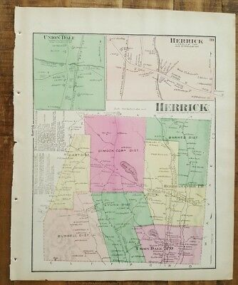 ANTIQUE Colored Map HERRICK & UNION DALE, PENNSYLVANIA / A. Pomeroy & Co. 1872