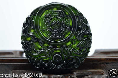 100% China's natural  jade nephrite carving black jade pendant Double Dragon 10