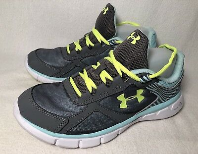4bd7d542eb5ca Under Armour Running Shoes Girls US 6.5 Y UK 6 Micro G Grey Blue Youth  Sneakers