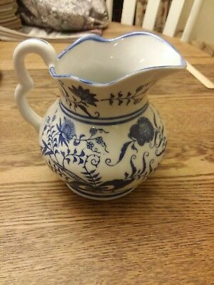"""Porcelain Blue & White """"vienna Woods Fine China"""" Pitcher - 6"""" Tall - Exc. Cond"""