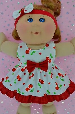 """Play n Wear Doll Clothes For 14"""" Cabbage Patch CHERRY DRESS~BLOOMERS~HEADBAND"""