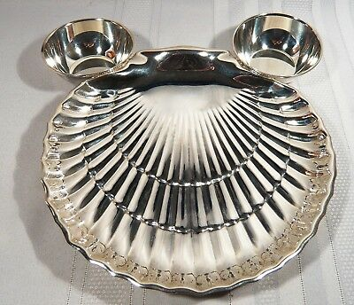 Birks Regency Silverplate Appetizer & Sauce  Tray  CLAM SHELL Shrimp & Dip BOWL