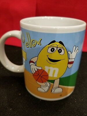 M&M Coffee Mug Cup Green/Yellow Galerie Mars Vintage Collectible M&Ms Baseball