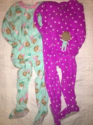 NWOT New girls Just One You Carters Fleece Pajamas 4T footed pjs sleepers lot 2