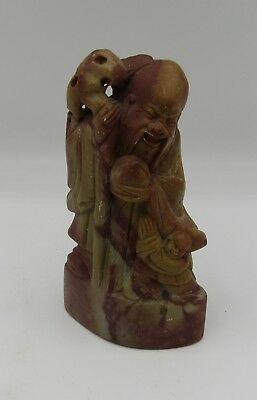"""Vintage carved Chinese chop seal hard stone figural scholar/child 4.25"""" China"""
