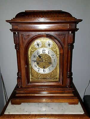 Large Antique Junghans German Bracket Clock Quarter Hour Chime 8 Day Westminster