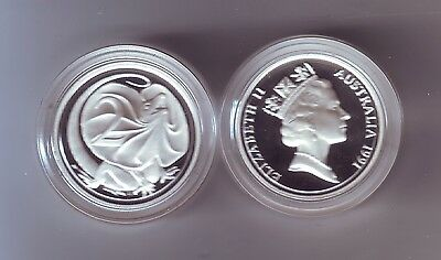 1991 SILVER Proof 2 Cent Frilled Necked Dragon Lizard ex Masterpieces in Set