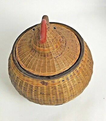 VTG Rooster Basket With Lid Shanghai People's Republic Of China Wicker Woven