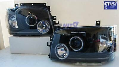 Black LED Angel Eyes Projector Head Lights for 04-10 Toyota Hiace