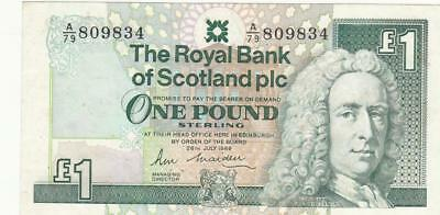UK Great Britain Scotland Banknote 1 Pound 1989