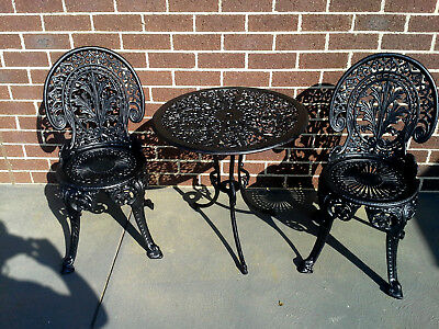 Vintage Cast Iron Chairs & Table Patio Garden Setting