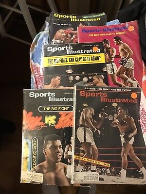 Lot Of 5 1960's Sports Illustrated Boxing Magazines Cassius Clay Muhammad Ali