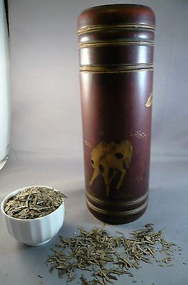 Antique Chinese Tea Caddie Bamboo Leather Clad Handpainted Gold  Horse Figures