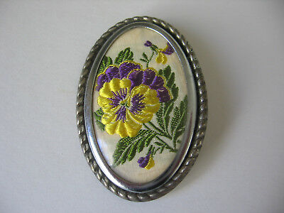Vintage Oval Brooch Embroidered Silk Pansy Flowers  -  Metal Frame