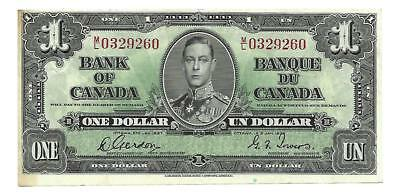 Canada $1 1937 P-58d @UNC. Lovely note.