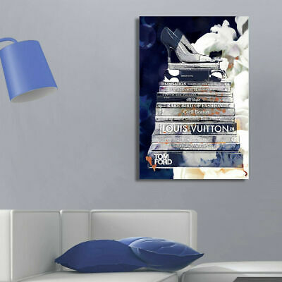 Blue Fashion Book Stretched Canvas Print Framed Wall Hanging Home Office Decor