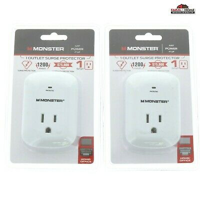 2 Pack Monster Power Single Surge Protector Outlet Wall Socket ~ New