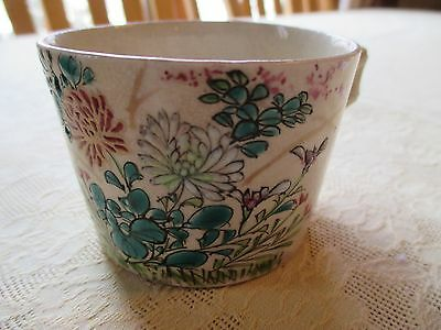 Antique SIGNED Chinese hand painted enameled Famille Rose Tea Cup