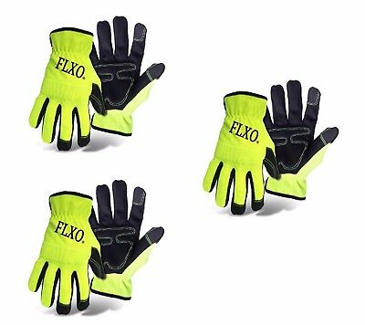 3 Pairs Safety Hi-Vis Gloves Construction Road Work Flagger High Visibility