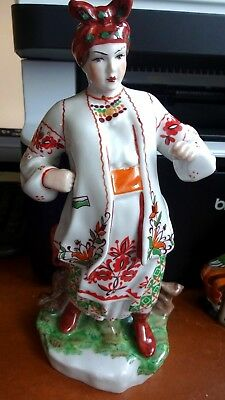 Superb Large Vintage Ukrainian Russian Porcelain Odarka Operatic Folk Art Figure