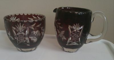VINTAGE BOHEMIAN RUBY RED CRYSTAL CUT TO CLEAR GLASS creamer and sugar no chips