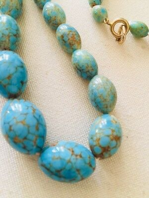 Vintage Robins Egg Blue Gold Murano Venetian Glass Graduated Bead Necklace 24""