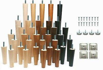 4x New Wooden Cone Furniture Legs For Sofa Table Chair Stool Chest Sofa 4 SIZES