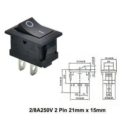 21mm x 15mm Panel Black On/Off Rocker Switch Rectangle 2 Pin SPST 2/8A 250V