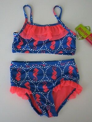 NWT Penelope Mack Toddler Girls Beach 2 Pc Bikini Swimsuit  Blue Pink Seahorse