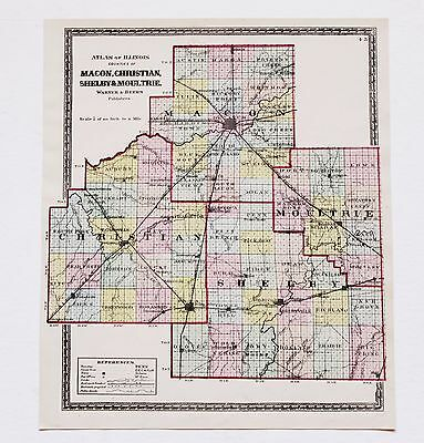 1872 Decatur Illinois Map Taylorville Macon Christiam Moultrie Plats ORIGINAL
