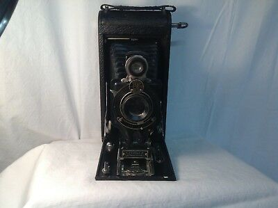 Vintage  NO 2 C KODAK JR- Folding Film Camera--Brown And Black Case Nice Bellows
