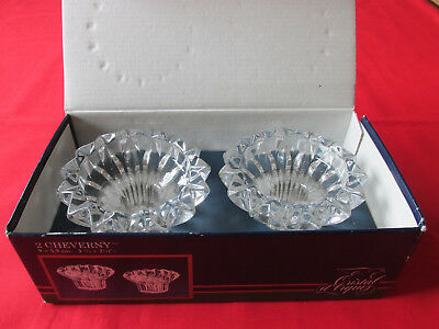 Pair Cristal D'arques France Cheverny Lead Crystal Candle Holders In Box Excl