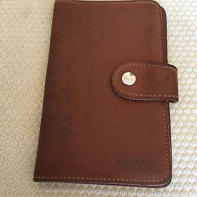 Vintage Coach Brown Leather Day Planner Agenda Organizer 4.5 x 7~Snap closure