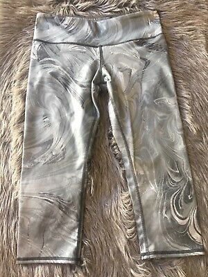 Alo Capris Small Printed Airbrushed Yoga Cropped Black & Gray Marble Women's S