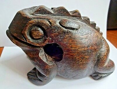 Superb Antique Chinese Carved Wood Jin Chan Lucky Money Frog