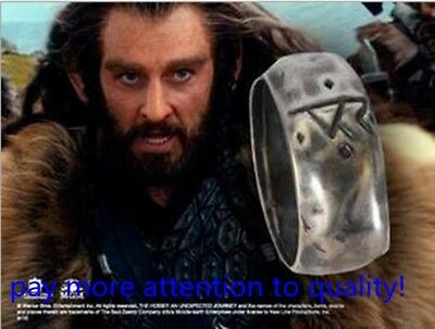 The Hobbit Lord of the Rings THORIN Rune Silver Ring inspired movie prop pendant
