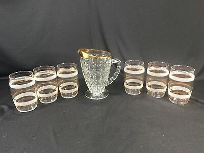 Vintage Clear Gold & White Frosted Texture Pitcher and 6 Glasses