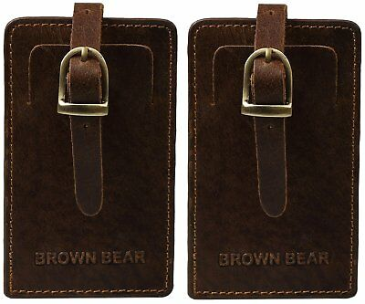 Brown Bear Marken 2er Set Kofferanhänger Echt-Leder vintage tan braun, Kofferset