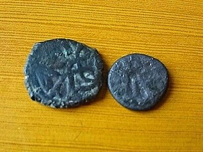 Lot of 2 Authentic Medieval Islamic Ottoman Bronze Coins Mangir Unknown.
