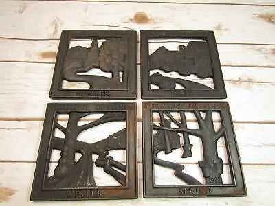 Set Of 4 Vermont Castings Cast Iron 4 Seasons Trivets