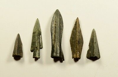 SUPERB LOT OF 5 Ancient Greek Scythian Arrow Heads Bronze 5th c BC / CLEANED