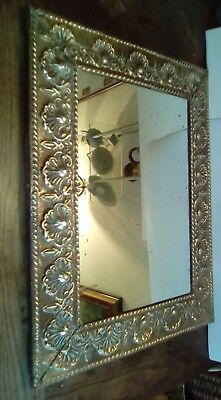 Antique Arts & Crafts Large Brass Decorative Framed Wall Mirror