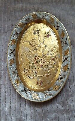 Vintage Solid Brass floral embossed tray India