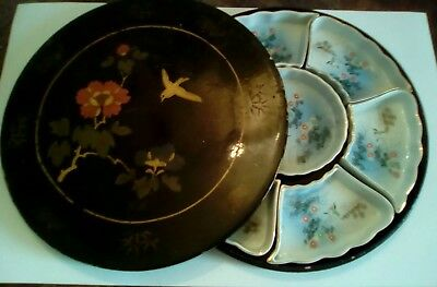 1930's black lacquer box,and porcelain hand painted snack set,signed Has Faults