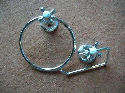 Tap design toilet roll and towel holder, chrome from NEXT, good condition