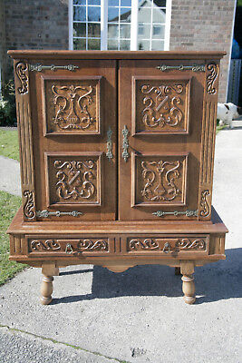 Vintage French Carved Oak Cabinet and Base