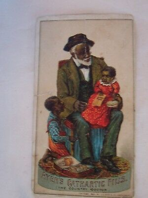 Victorian Advertising Trade Card Ayer's Cathartic Pills BlacK Americana Doctor