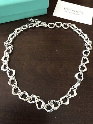 Tiffany & Co Sterling Silver and 18k Heart Shape Link Necklace