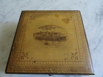 Antique Brooks Thread Sewing Cotton Spool Wooden Box Advertising Calais Ferry