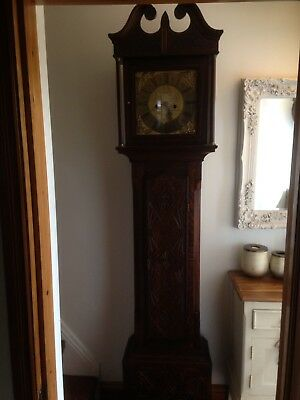 Beautiful Antique Carved Longcase Brass Face Grandfather Clock